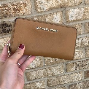 Michael Kors beige chestnut colored large wallet!